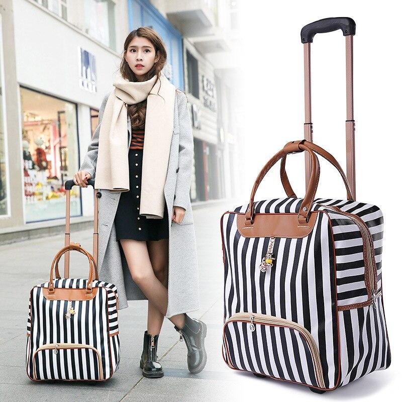 Nouvelle mode chaude femmes Trolley bagages valise à roulettes marque décontracté rayures roulement sac de voyage sur roues bagages valise