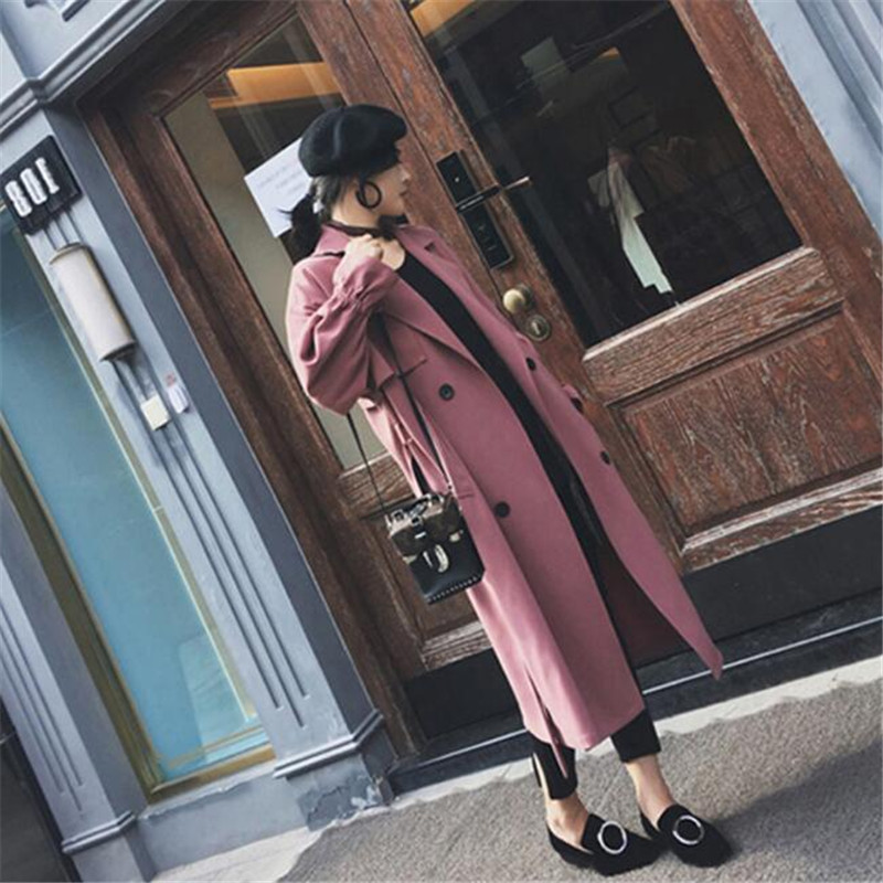 Elegant Spring Autumn Women Loose Long Sleeve   Trench   Fashion Casual Plus Size Solid Color Women'S Clothing Ma5045