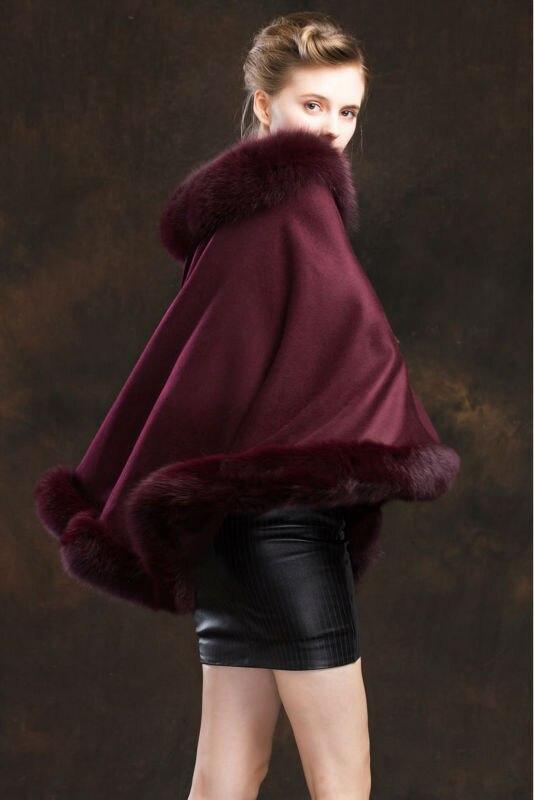 Manteau de fourrure de renard véritable cachemire véritable femme
