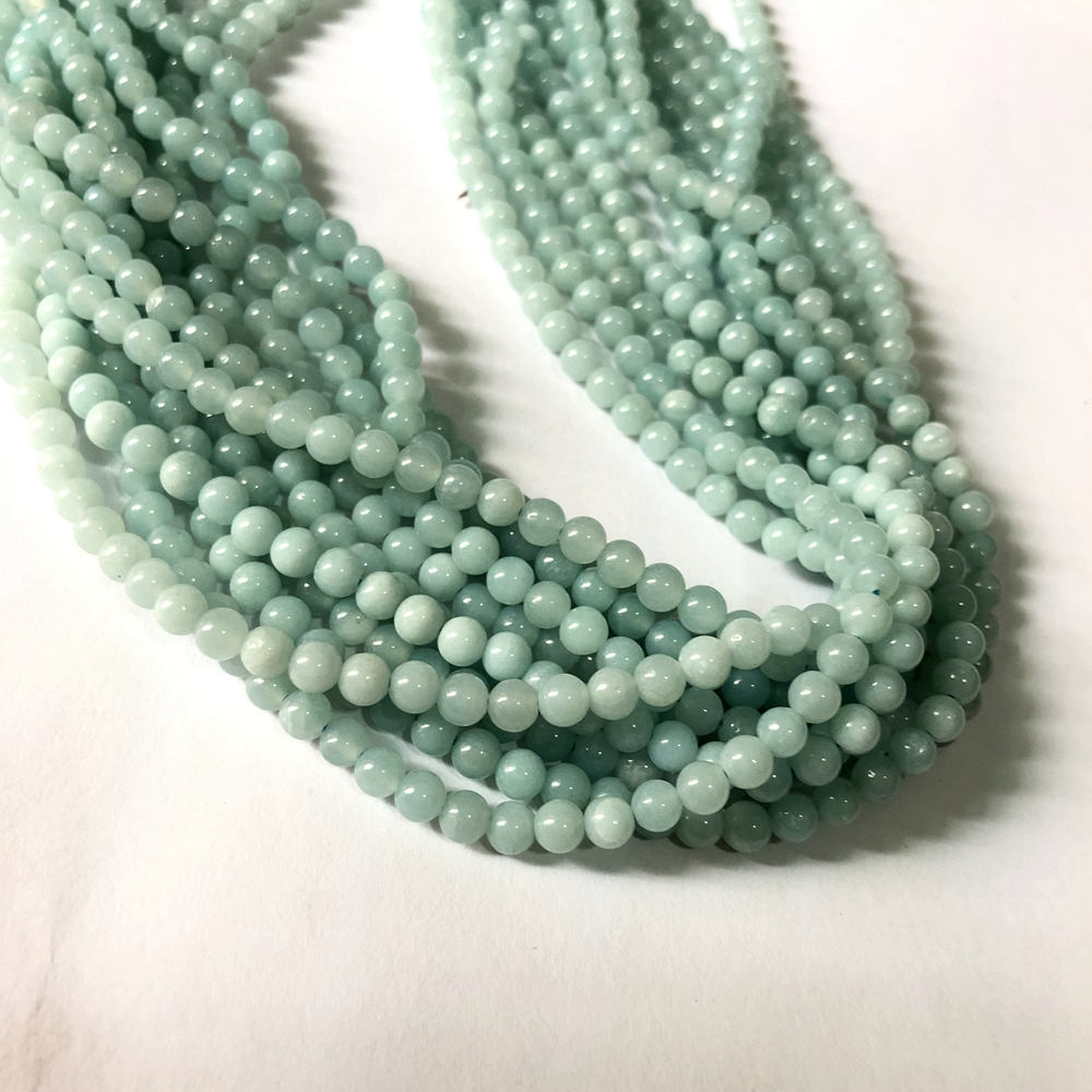 7-8MM GREEN MOONSTONE GEMSTONE GRADE AA ROUND LOOSE BEADS 15.5/""