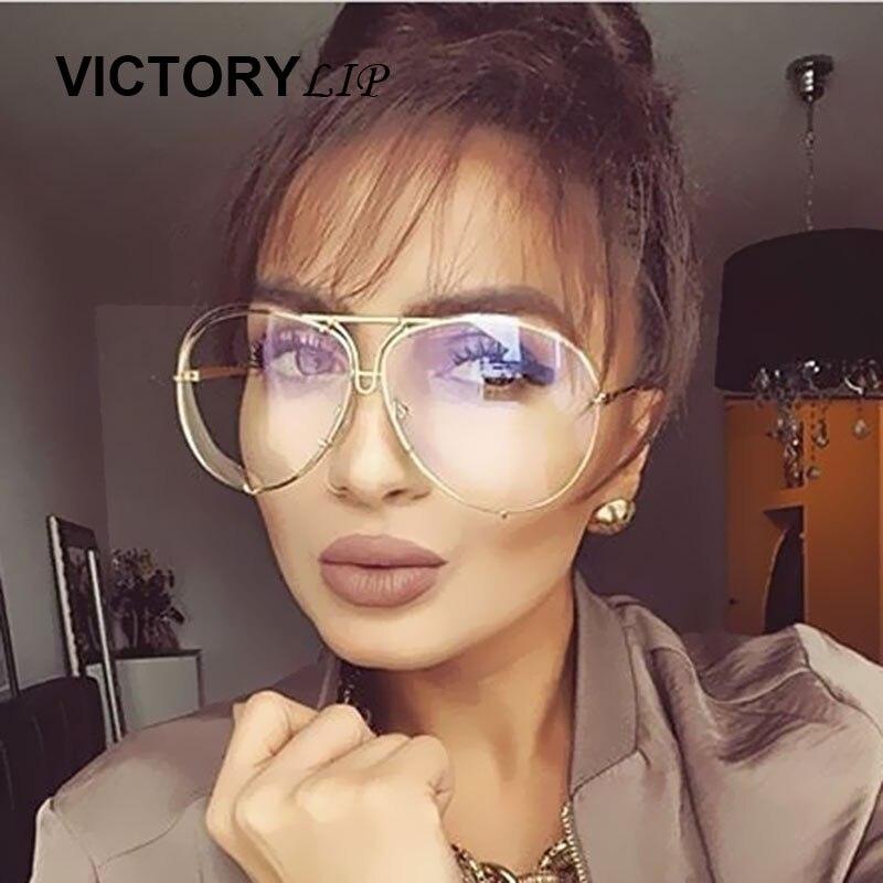 VictoryLip Women Značkové odstíny Sluneční brýle UV400 Muž Žena Transparentní letectví Brýle Velkoformátové sluneční brýle
