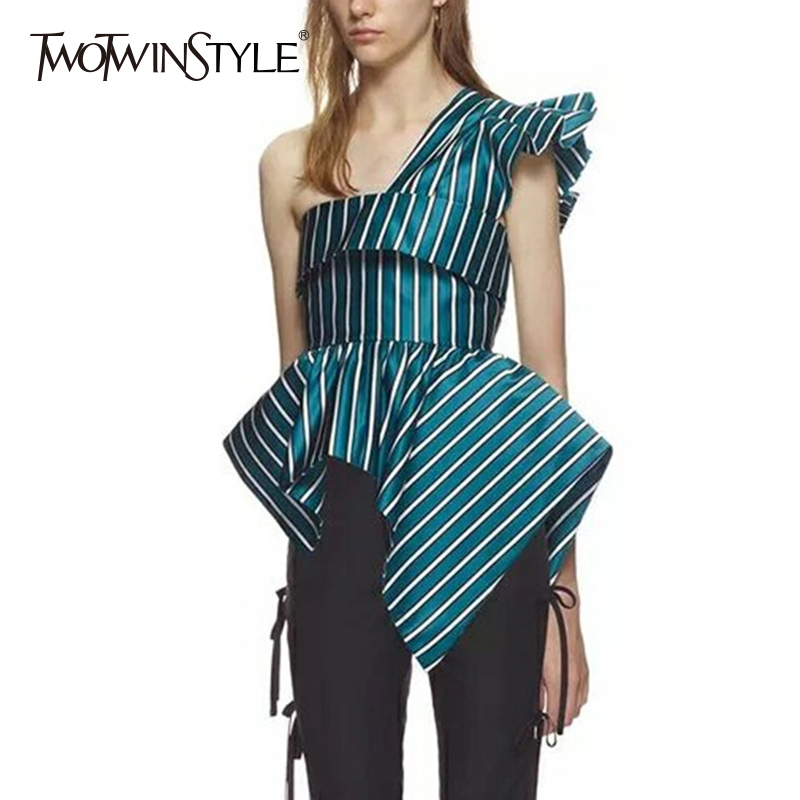 Twotwinstyle Striped Irregular Shirt Off Shoulder Ruffles Backless Tunic High Waist Zipper Blouse Female 2018 Summer Fashion New by Twotwinstyle