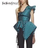 TWOTWINSTYLE Striped Unregelmäßige Hemd Aus Schulter Rüschen Backless Tunika Hohe Taille Reißverschluss Bluse Weibliche 2018 Sommer Mode Neue