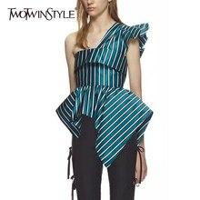 TWOTWINSTYLE Striped Unregelmäßige Hemd Aus Schulter Rüschen Backless Tunika Hohe Taille Zipper Bluse Weibliche 2019 Sommer Mode Neue