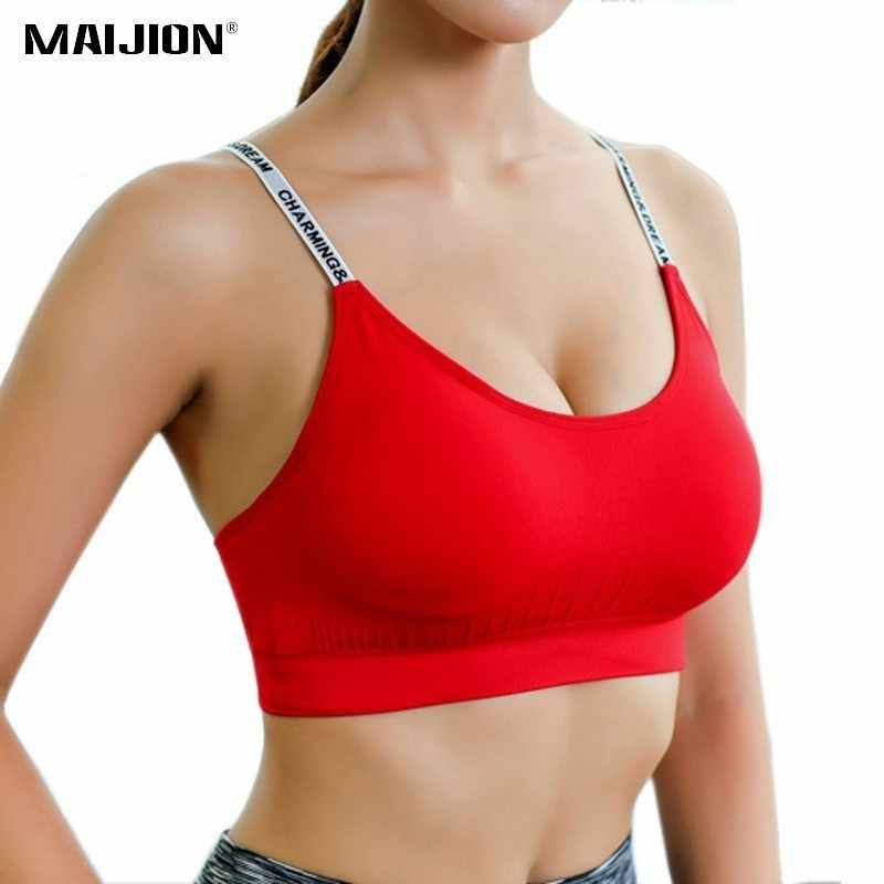 MAIJION Women Absorb Sweat Breathable Sports Bra Shockproof Padded Athletic Running Fitness Yoga Bra Top Seamless Sport Tops