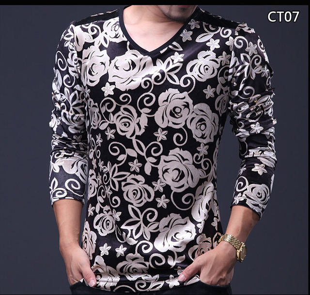 Мужчины Мода Футболка 2016 Осень V Шеи Бархат с длинными рукавами футболки homme мужской плюс размер тонкий Топ Тройники Homme 5XL 4XL м