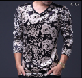 Men Fashion T-shirt 2016 Autumn V Neck Velvet long-sleeved tshirt homme man's plus size slim Top Tees Homme 5XL 4XL M