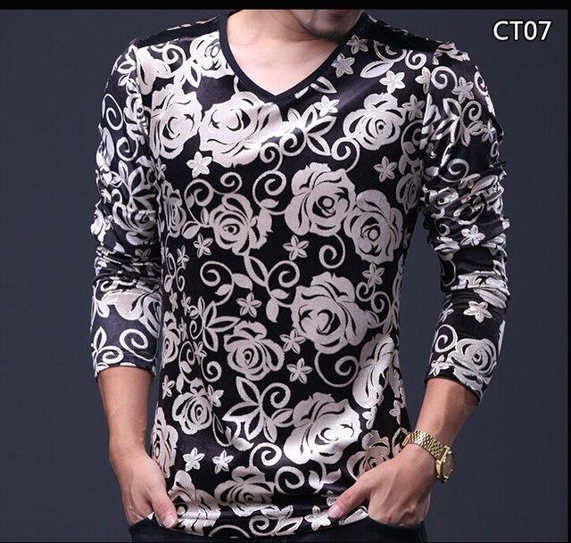 1f6749c4a1a4 Men Fashion T-shirt 2016 Autumn V Neck Velvet long-sleeved tshirt homme  man's