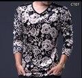 Moda masculina T-shirt 2016 Outono de Veludo V Pescoço longo-manga tshirt homme plus size fino Top T-shirt do homem Homme 5XL 4XL M