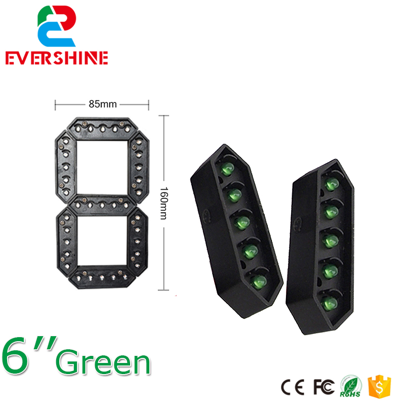 6 Green Color 7 Seven Segment LED Number Module Gas Price LED Display Signs Diesel Price Digital Module LED Outdoor