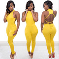 2016 new fashion women summer casual sexy club yellow halter sleeveless backless bodysuits jumpsuit rompers combinaison femme