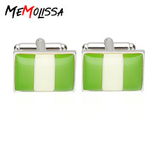 MeMolissa 3 Pairs New Arrival Men's Cuff-Links Shirt Jewelry Enamel Trendy Square Green & White Nigeria National Flag Cuff links(China)