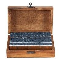 70pcs Christmas Gift Vintage Wooden Craft Box Alphabet Stamp Rubber Stamp Set Urabet Letter Numbber Stamps