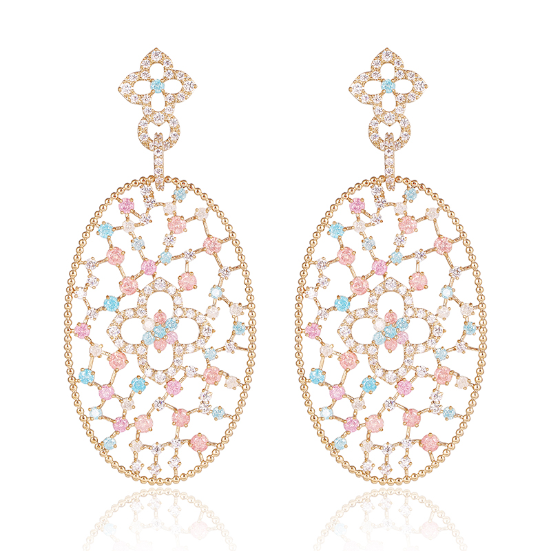 XIUMEIYIZU Rose Gold Color Filigree Big Oval Dangle Earrings Inspired Pave Colorful CZ Stones Chandelier Earrings pair of trendy filigree rose gold rhinestone leaf fringe earrings for women