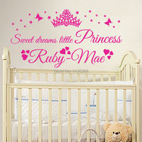 Personalised SWEET DREAMS Little PRINCESS Custom Name Baby Girl Wall Art Sticker