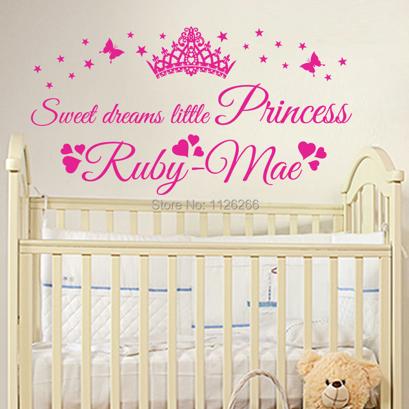 Personalised sweet dreams little princess custom name baby girl wall art sticker in wall stickers from home garden on aliexpress com alibaba group