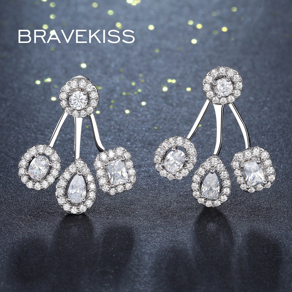 Bravekiss Bride Piercing Earrings Jackets Wedding Cubic Zirconia For Women Las Jewellery Bijoux Boucl Bue0263 On Aliexpress Alibaba Group