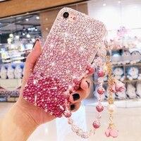 Pink Gradient Diamond Phone Case For iPhone X 8 7 Plus 6 6S Plus Rhinestone Phone Cover Cases