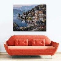 DIY Digitale Olieverfschilderij handgeschilderde Seaside Paleis Muur Decoratie Met Moderne Verf Katoen Stof Drop Verzending
