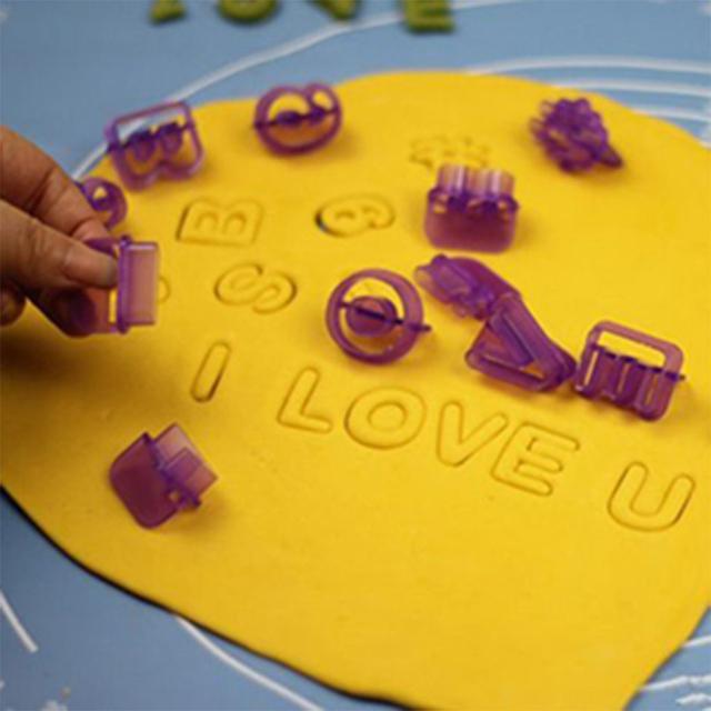 DOZZLOR 40PCs Plastic Alphabet Letter Number Fondant Cake Biscuit Baking Mould Cookie Cutters and stamps Cake DIY Alphabet Mold