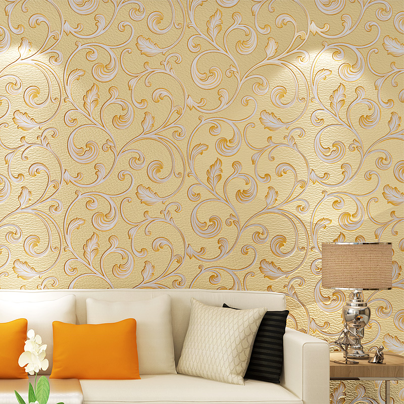 Luxury Damask Suede Fabric Velvet Non-woven Wallpaper European Style Living Room TV Background Home Decor Wall Paper Rolls