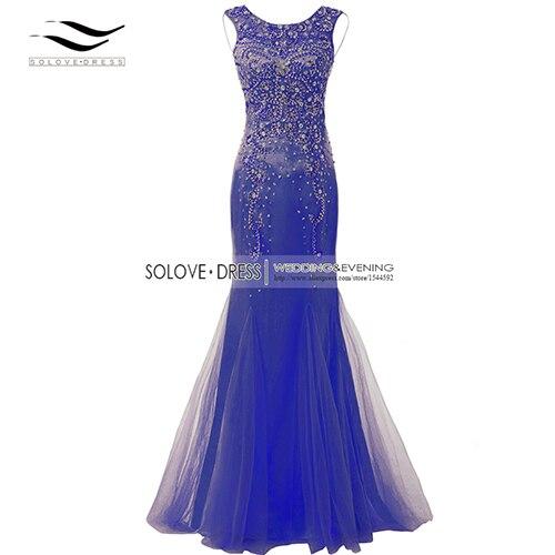 Элегантная ткань Накладка для кнопки рукав Кристалл бисером длинное платье выпускного вечера тюль русалка платье выпускного вечера Longo Vestido de festa(SLP-011 - Цвет: Royal Blue