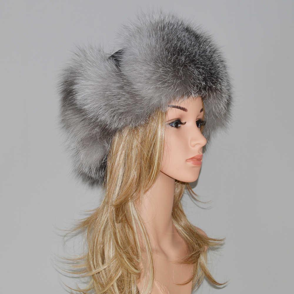 1c87c13e34704d ... Winter Fur Hat For Women Natural Raccoon Fox Fur Russian Ushanka Hats  Female Thick Warm Ears