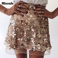 High Waist Sequins Skirts Women 2017 Sexy Vintage Party Skit Mesh Patchwork A Line Shining Bandage