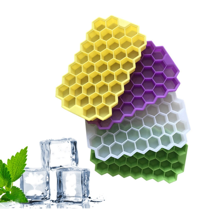 Ice Cube Tray With Lid 37 Grids Honeycomb Mini Ice Maker Cube Eco-Friendly Cavity Silicone Tray Mold