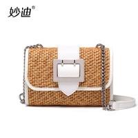 MOOD Instagram straw beach bag rattan mini cross body bag for summer free shipping