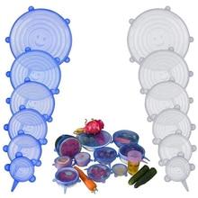 6x Набор силиконовых Растягивающихся крышек для остатков продуктов, сохраняющих свежесть, крышка для растягивающейся чаши, крышка для холодильника, микроволновки, герметичная пленка