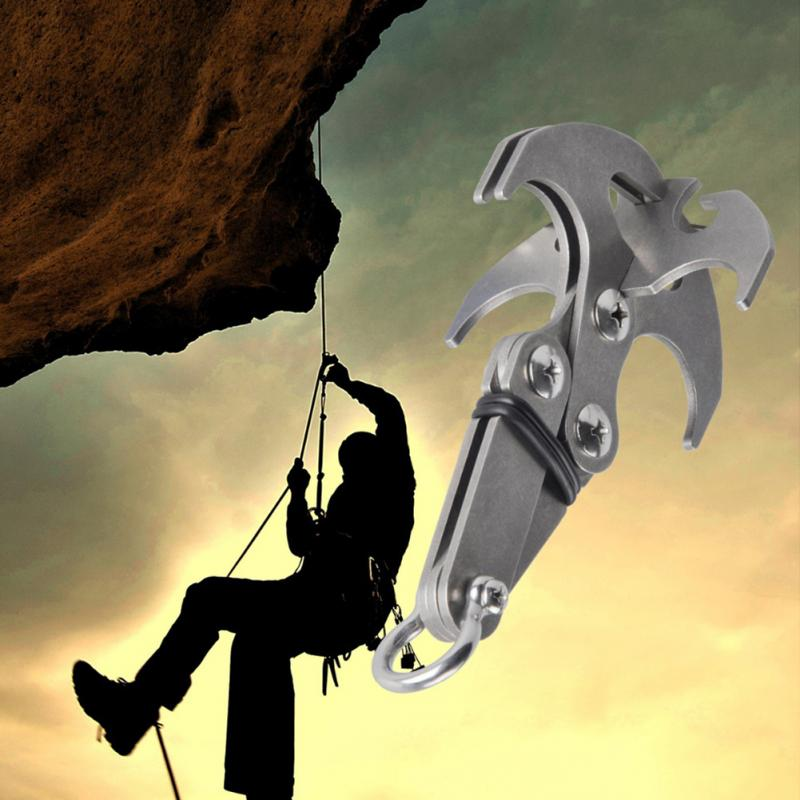 Stainless Steel High Performance Survival Folding Grappling Hook Climbing Claw Outdoor Carabiner grappling black diamond hook