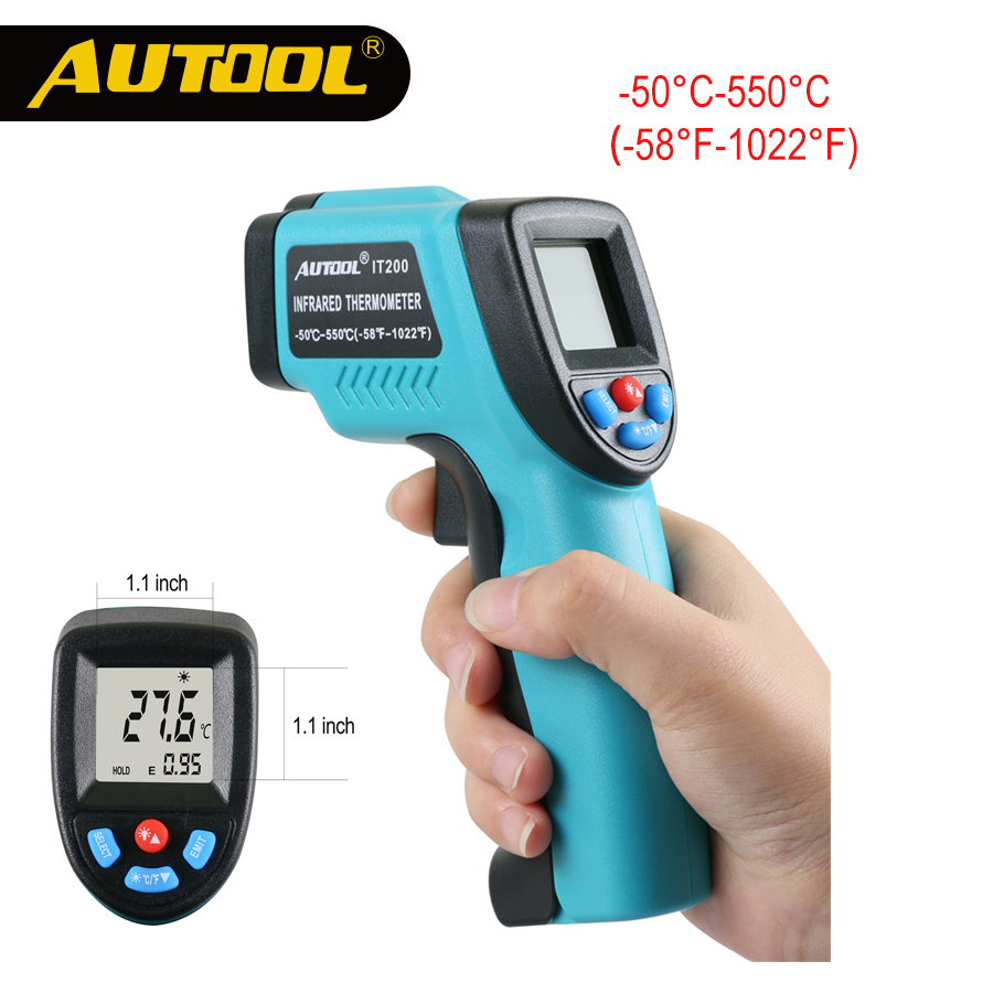 AUTOOL IT200 Digital Infrared Thermometer LCD Screen Non-contact Temperature Measurement Industrial High Temp Repair Maintaince high quality infrared thermometer professional non contact digital contain battery african swiss voile lace high quality