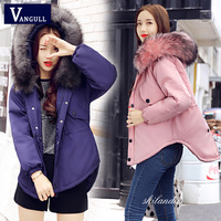 Winter jacket women Warm cotton padded jacket coat Thicken female outwear parks 2017 new High Quality Faux Fur collar coat