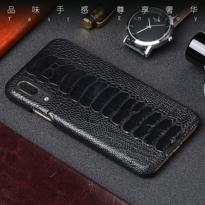 Capa de telefone de couro de luxo para huawei p10 p20 lite p10 p20 p30 pro caso de avestruz natural pé pele para mate 10 lite p caso inteligente - 5