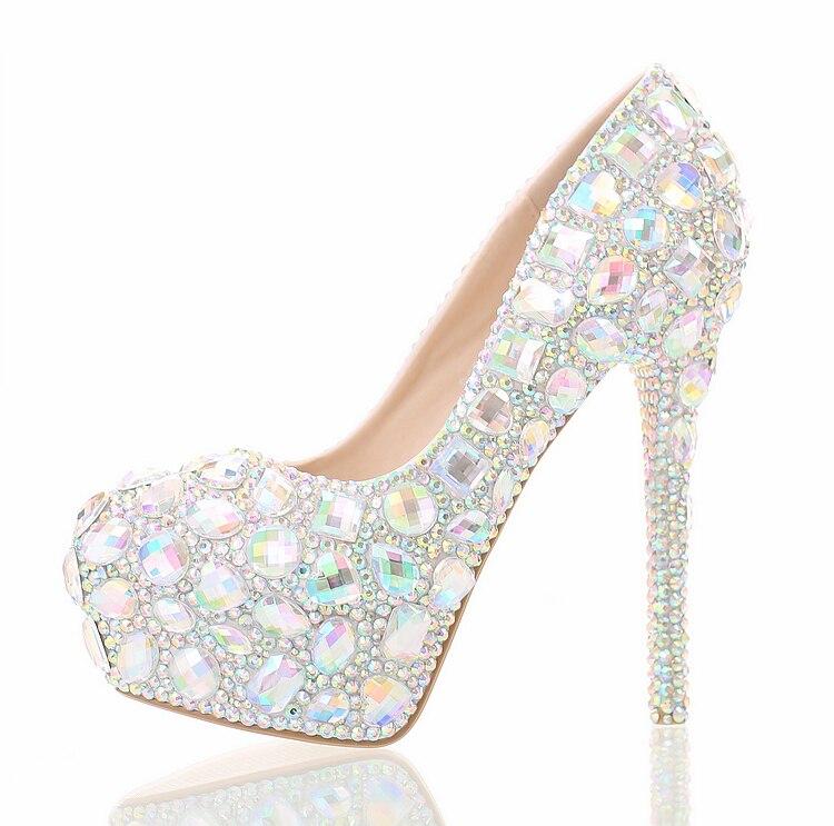 Colorful crystal high waterproof table, bridal shoes round head shallow hole Rhinestone wedding heel night show women