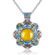 Long Baolong authentic 925 sterling silver silver yellow natural agate pendant cloisonne enamel pendant retro sweater