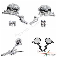 Papanda Chrome Aluminum Motorcycle Adjustable Skull Mirrors with Black Eyes Cruiser for Honda Suzuki Kawasaki Yamaha