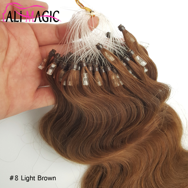 Micro Loop Hair Extensions High Quality Light Brown Brazilian Body