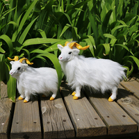 simulation sheep hard model prop plastic&furs white goat ,home garden decoration toy gift s2688
