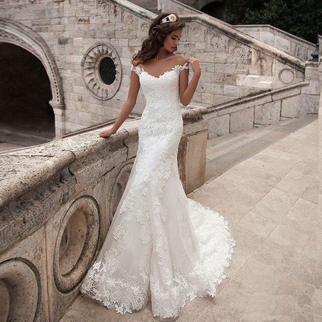 Long Elegant Vintage Mermaid Wedding Dresses Scoop Neck Bridal Gown Sexy Cap Sleeve Bridal Gown Sweep Train