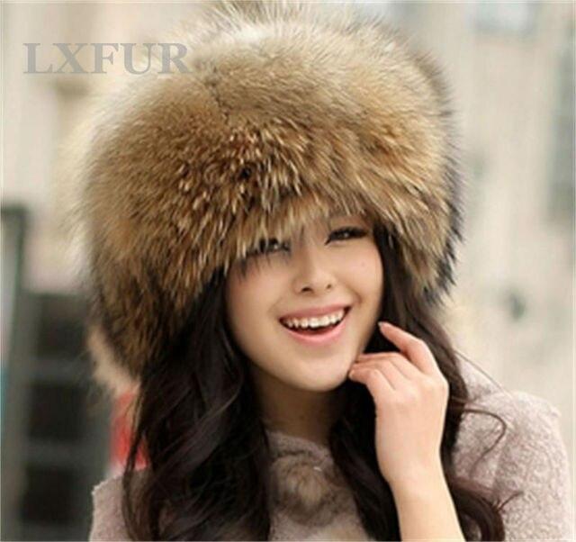 Классический Женщин Real 100% Лиса Меховые Шапки Дамы Зима Теплая Подлинная Енота Hat Повседневная Cap LX00009-1