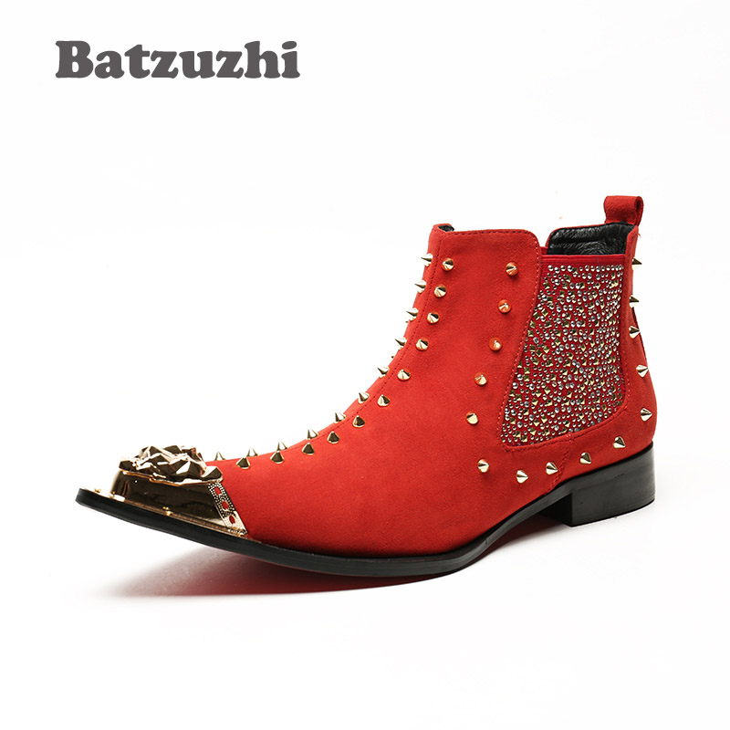 Batzuzhi Personality Rivets Knight Boots Men Western Style Pointed Toe Leather Short Boot Men Bar, DJ, Stage Party Boots for MenBatzuzhi Personality Rivets Knight Boots Men Western Style Pointed Toe Leather Short Boot Men Bar, DJ, Stage Party Boots for Men