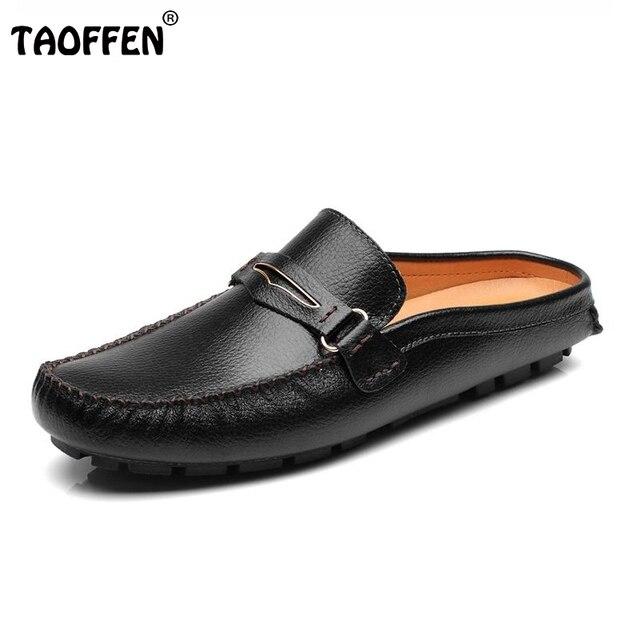 Nueva Moda de Cuero Real de Los Hombres Slip-on pisos Sandalias Zapatos Al Aire Libre Hombres Zapatos de la Playa Zapatos Casuales Zapatillas Calzado M0014