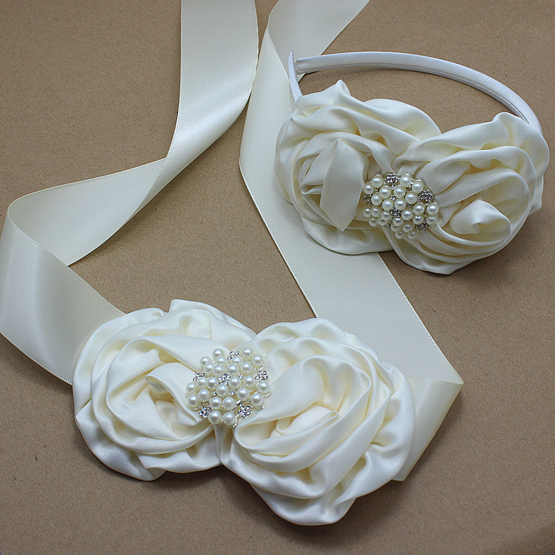 Ivory satin rose flower sash and headband with pearl for Ivory wedding dress sash