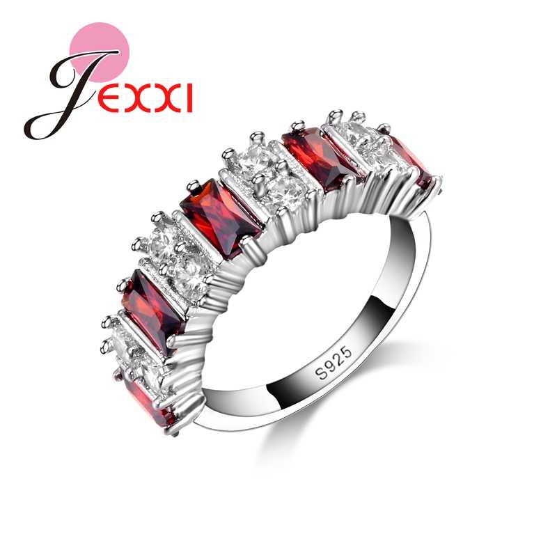 Elegant Bridal Jewerly Red CZ Finger Rings 925 Sterling Silver Wedding Engagement Rings For Women High Quality