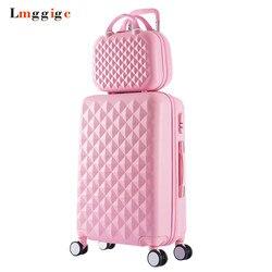 Saco de bagagem feminino conjunto, mala padrão de diamante com bolsa, caixa de viagem de rolamento de moda, roda universal trole abs hardcase
