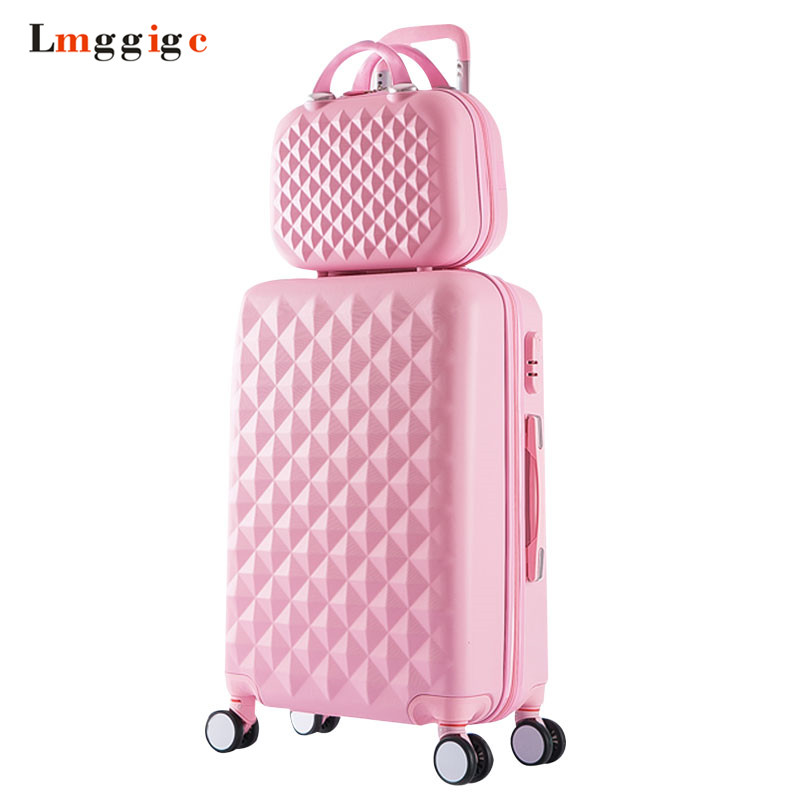 все цены на Women Luggage Bag set,Diamond pattern Suitcase with Handbag,Fashion Rolling Travel Box,Universal Wheel Trolley ABS Hardcase Case