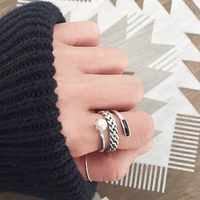 ROCKART Genuine 925 Sterling Silver Vintage Three Layers Twisted Rope With Shell Pearl Ring For Women