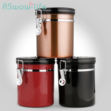 Coffee Bean Sealed Can With Exhaust Valve Stainless Steel Tea Jar For Set